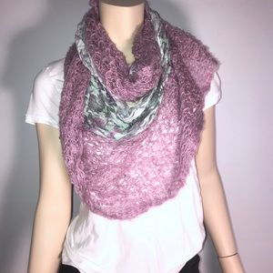 Urban Outfitters Floral and Crochet Purple Scarf